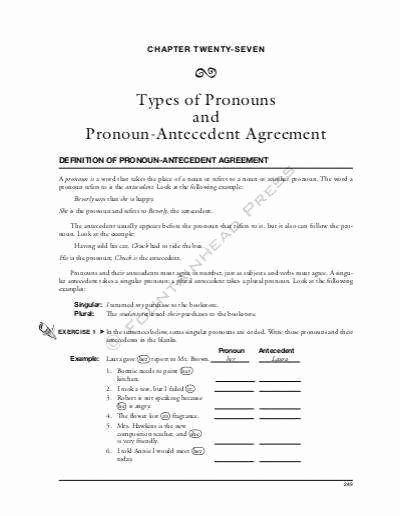 Pronoun Antecedent Agreement Worksheet Beautiful Pronoun Antecedent Agreement Worksheet