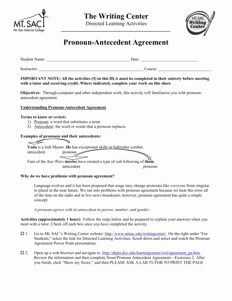 Pronoun Antecedent Agreement Worksheet Beautiful Subject Pronoun Agreement Excellent Pronoun Antecedent