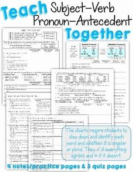 Pronoun Antecedent Agreement Worksheet Best Of Teach Subject Verb and Pronoun Antecedent Agreement