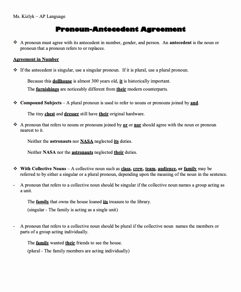 Pronoun Antecedent Agreement Worksheet Lovely Pronoun Antecedent Agreement Handouts & Reference for 7th