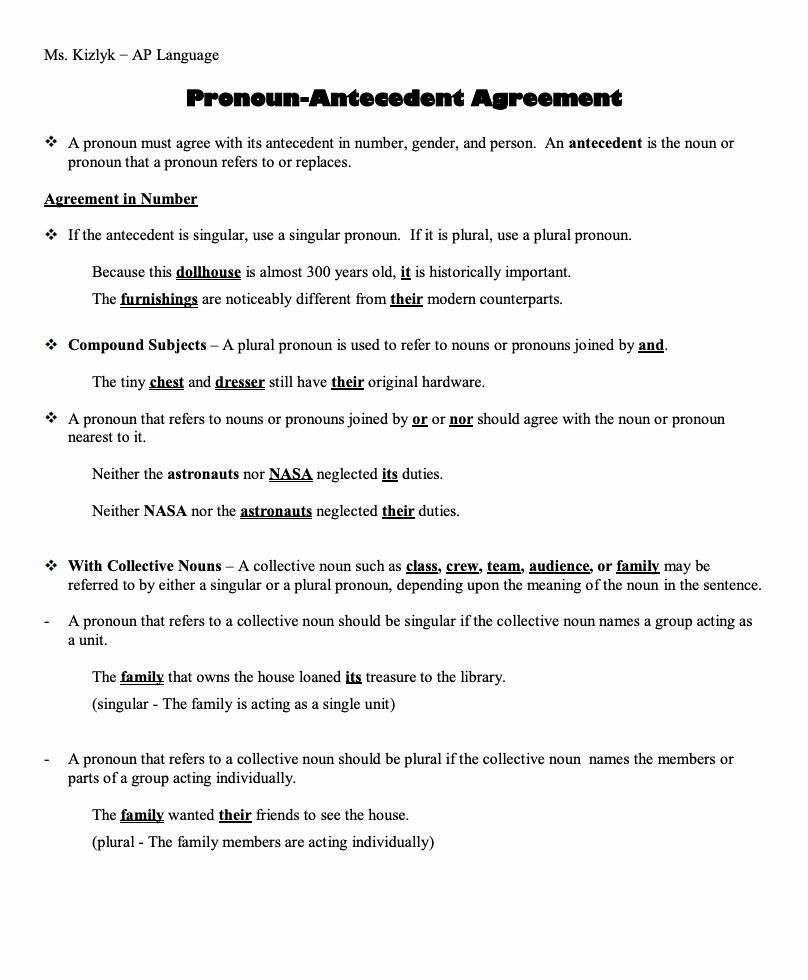 Pronoun Antecedent Agreement Worksheet Lovely Pronoun Antecedent Agreement Handouts & Reference for 7th