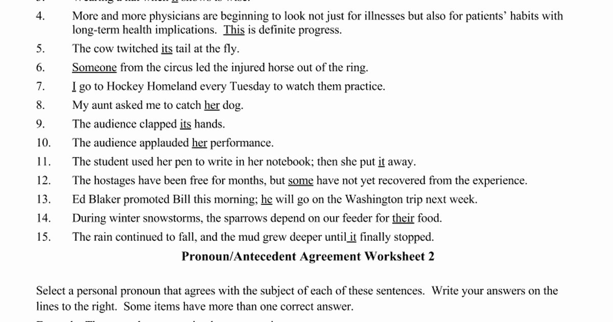Pronoun Antecedent Agreement Worksheet Luxury Pronoun Antecedent Agreement Worksheet