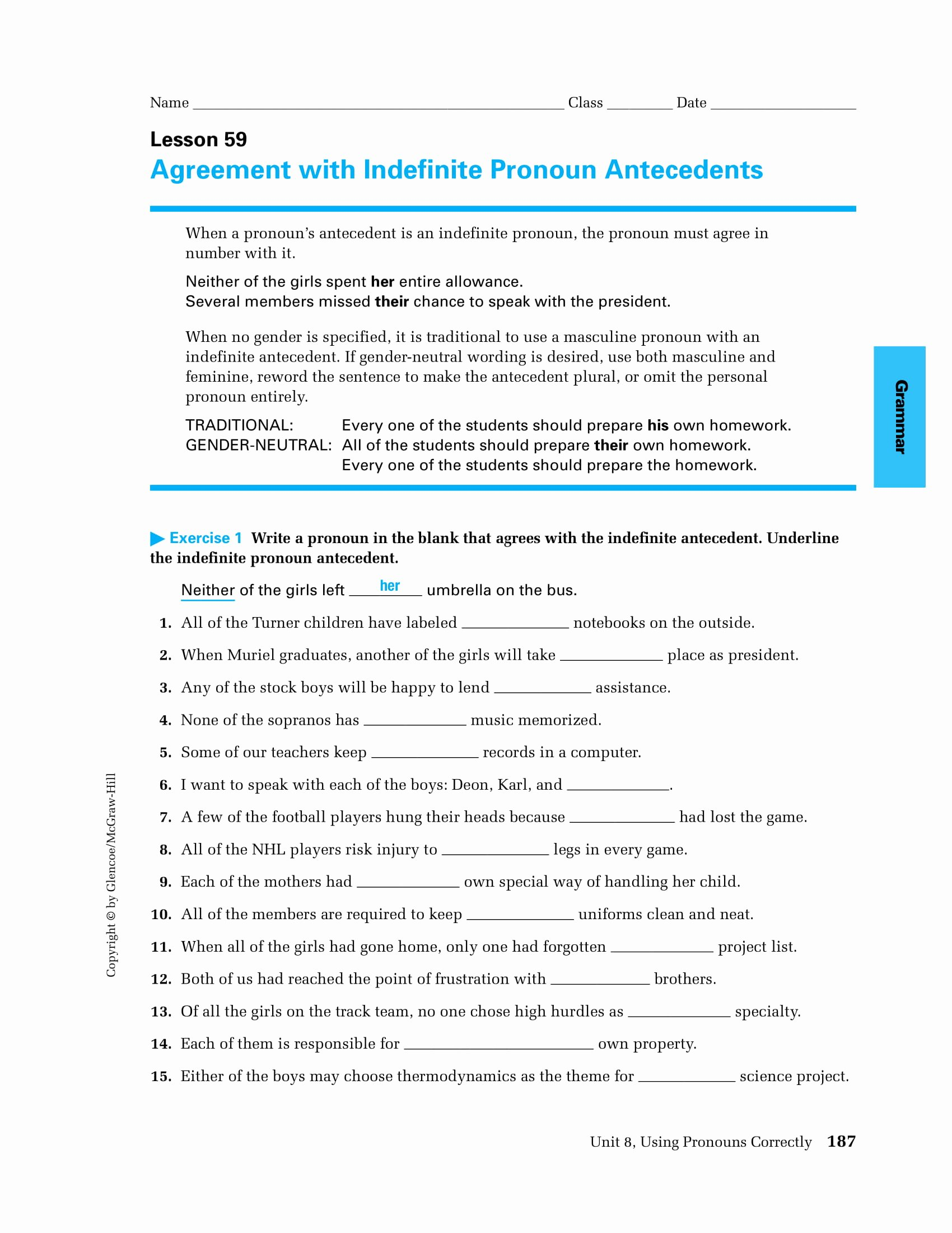 Pronoun Antecedent Agreement Worksheet Unique 9 Pronoun Antecedent Examples Pdf