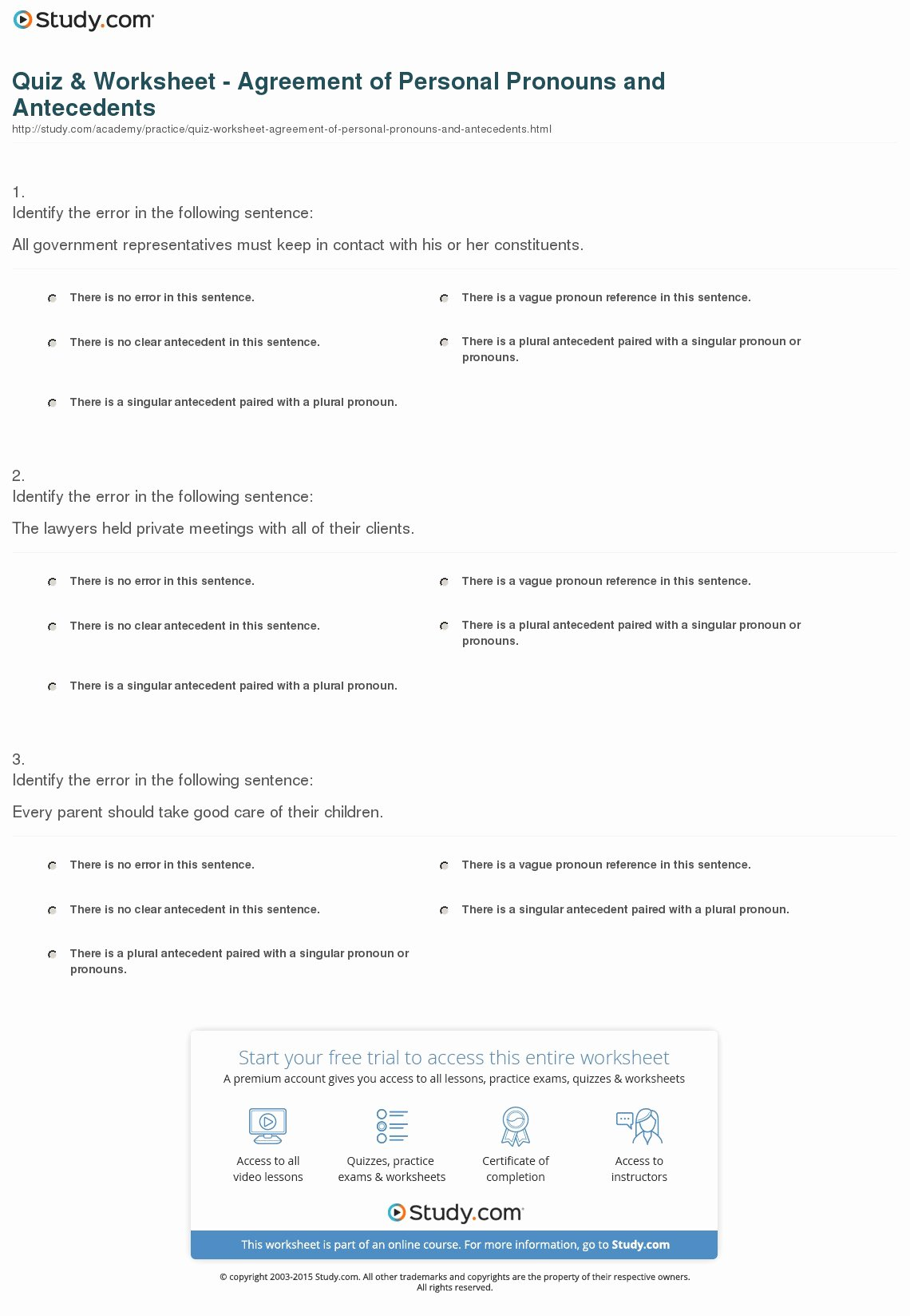 Pronoun Antecedent Agreement Worksheet Unique Quiz & Worksheet Agreement Of Personal Pronouns and