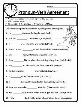 Pronoun Verb Agreement Worksheet Beautiful Pronoun Verb Agreement Worksheet Pronoun Verb Agreement