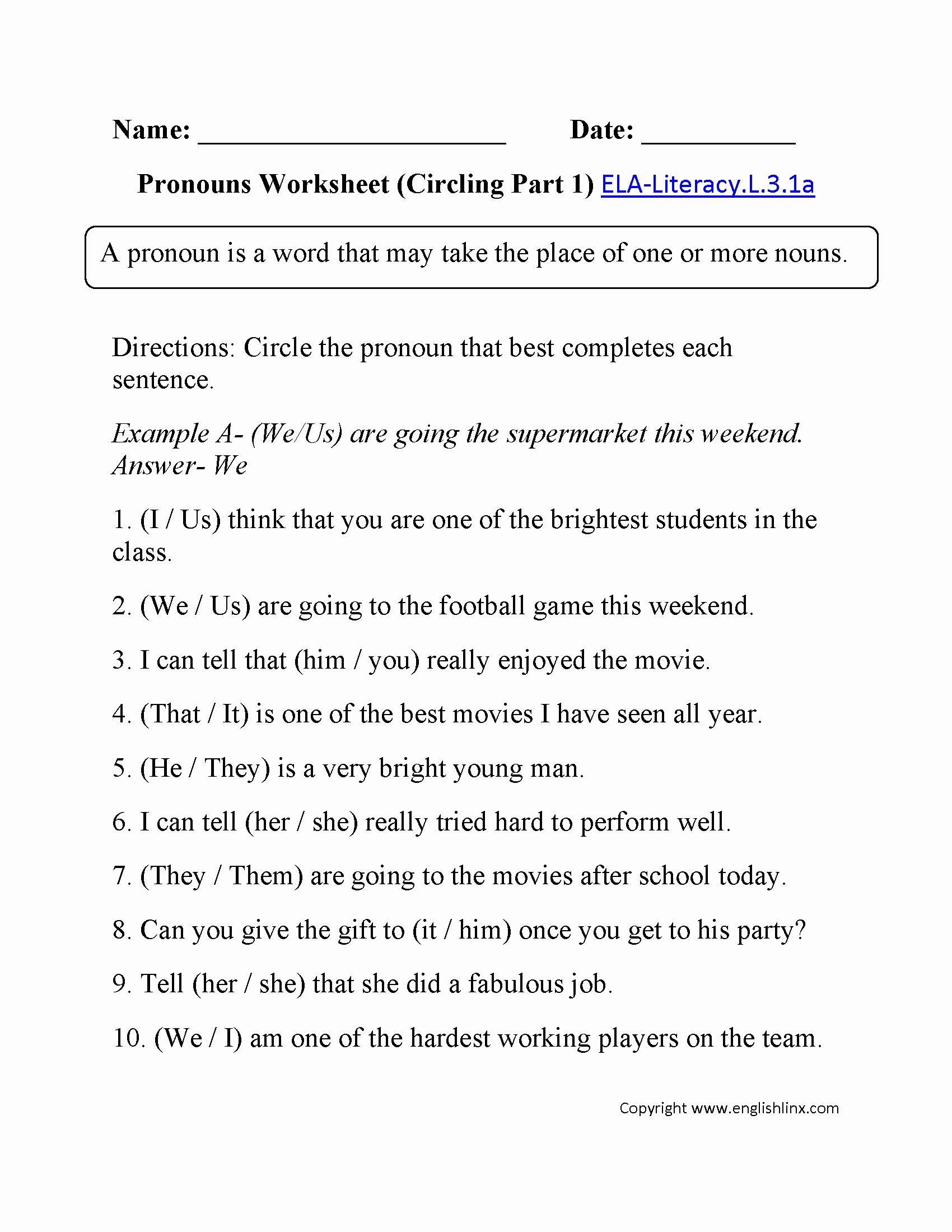 Pronoun Verb Agreement Worksheet Fresh 9 Best Of Pronoun Antecedent Agreement Worksheets