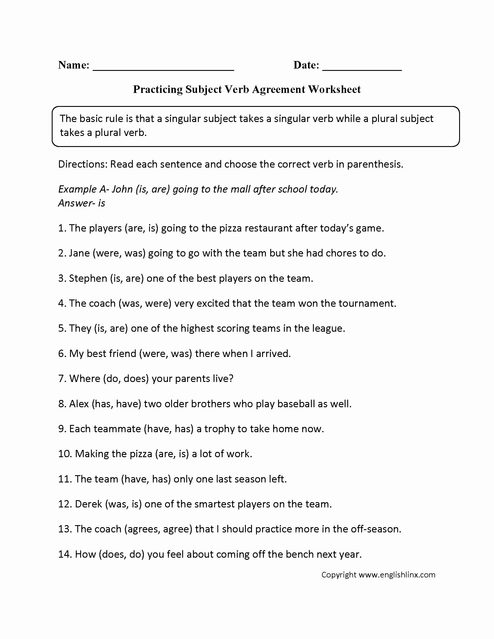 Pronoun Verb Agreement Worksheet Lovely Subject Verb Agreement Worksheets