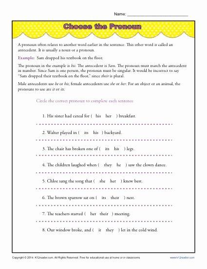 Pronoun Verb Agreement Worksheet New Choose the Pronoun
