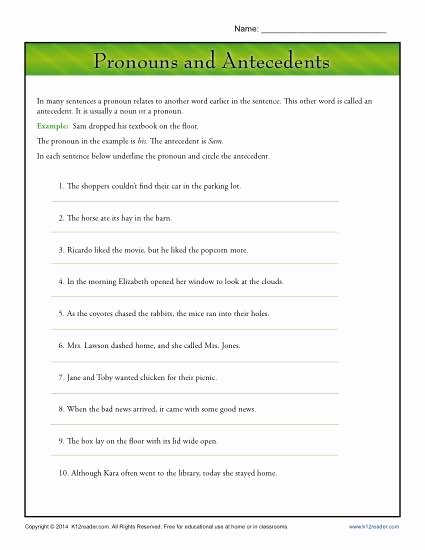 Pronoun Verb Agreement Worksheet New Pronouns and Antecedents