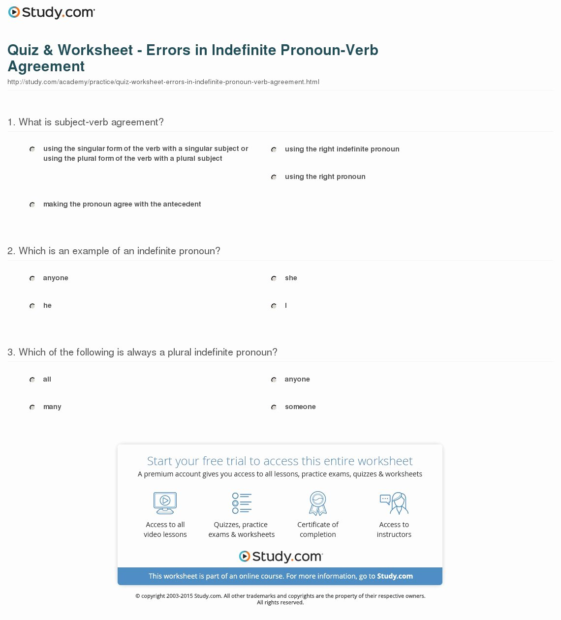 Pronoun Verb Agreement Worksheet New Quiz & Worksheet Errors In Indefinite Pronoun Verb