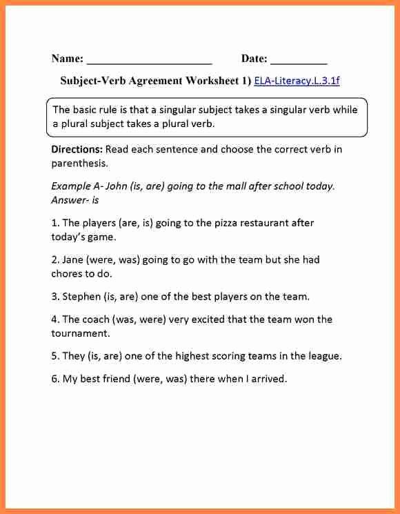 Pronoun Verb Agreement Worksheet Unique 10 Subject Verb Pronoun Antecedent Agreement Quiz