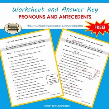Pronouns and Antecedents Worksheet Awesome Pronoun Antecedent Identification Worksheet by Bibliofiles