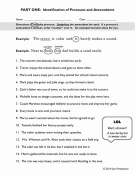 Pronouns and Antecedents Worksheet Elegant Pronoun Antecedent Identification Worksheet by Bibliofiles