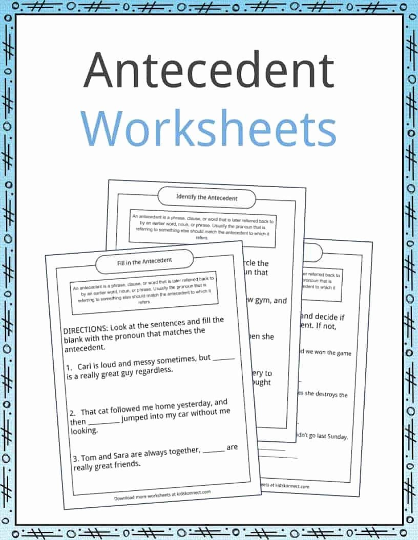 Pronouns and Antecedents Worksheet Elegant Worksheet Pronouns and Antecedents Worksheet Worksheet