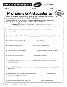 Pronouns and Antecedents Worksheet Fresh Pronouns and Antecedents Worksheet for 6th 9th Grade