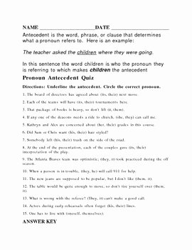 Pronouns and Antecedents Worksheet Lovely Antecedent Worksheet or Quiz with Answer Key by Higg
