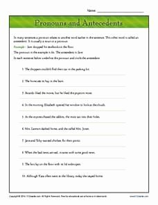 Pronouns and Antecedents Worksheet Unique 21 Best Images About Grammar On Pinterest