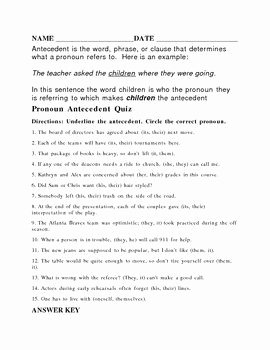 Pronouns and Antecedents Worksheet Unique Antecedent Worksheet or Quiz with Answer Key