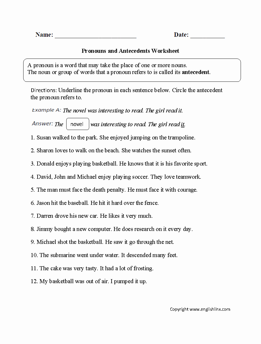 Pronouns and Antecedents Worksheet Unique Word Usage Worksheets