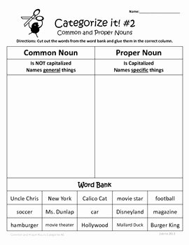 Proper Nouns Worksheet 2nd Grade Awesome Mon and Proper Nouns 1st 2nd 3rd Grade Mon Core