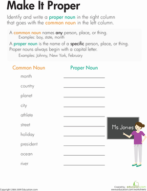 Proper Nouns Worksheet 2nd Grade Best Of Nouns Make It Proper Worksheet