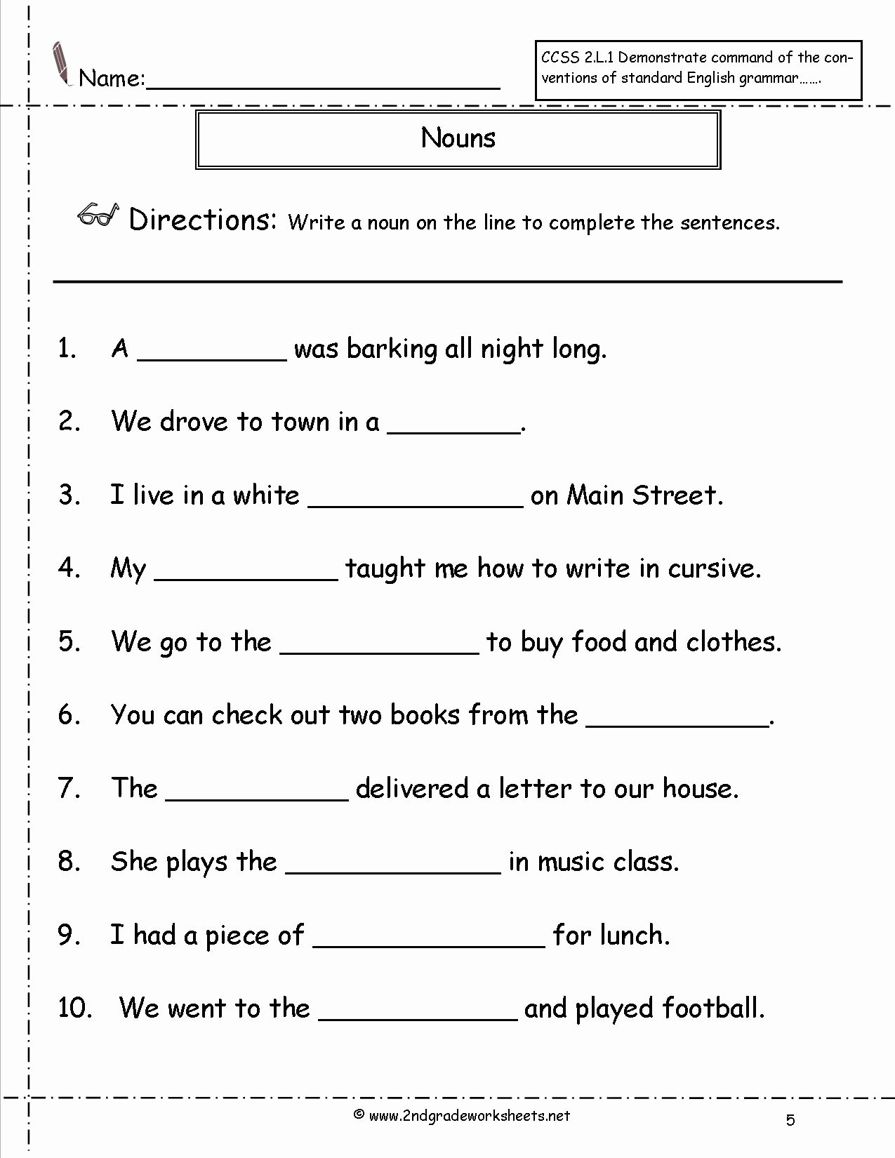 Proper Nouns Worksheet 2nd Grade Elegant 19 Best Of Proper Noun Worksheets Grade 1 Nouns