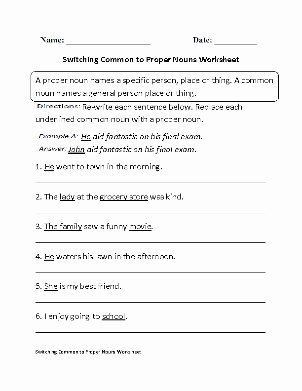 Proper Nouns Worksheet 2nd Grade Elegant Nouns Worksheets