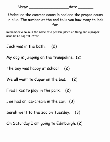 Proper Nouns Worksheet 2nd Grade Fresh Proper and Mon Noun Worksheet by Jillewron