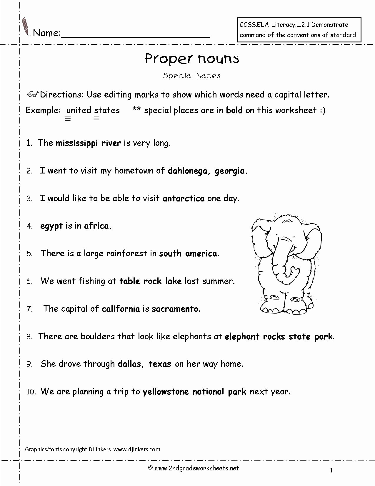 Proper Nouns Worksheet 2nd Grade Fresh Wonders Second Grade Unit Four Week E Printouts