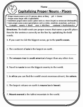 Proper Nouns Worksheet 2nd Grade Lovely 2nd Grade Wonders Unit 4 Week 1 Grammar Second Wonders 4 1