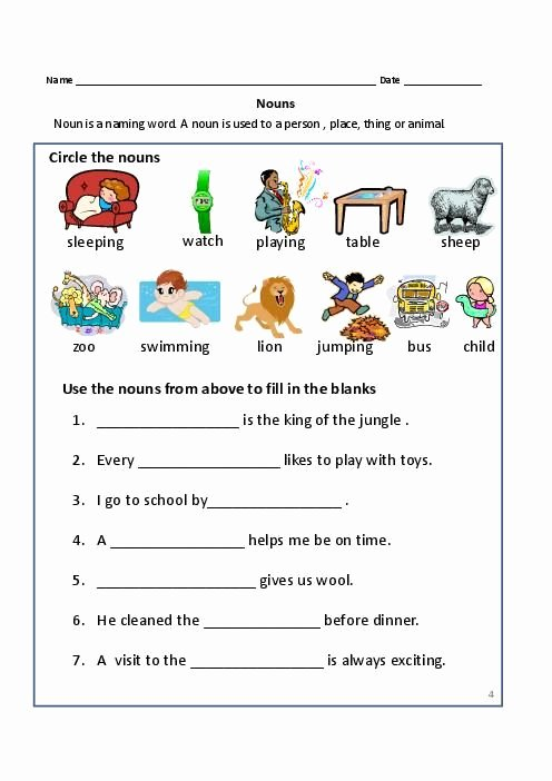 Proper Nouns Worksheet 2nd Grade Lovely Nouns Exercises for First Grade Mon Proper Nouns