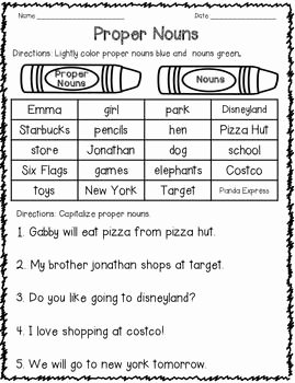 Proper Nouns Worksheet 2nd Grade Lovely Proper Nouns