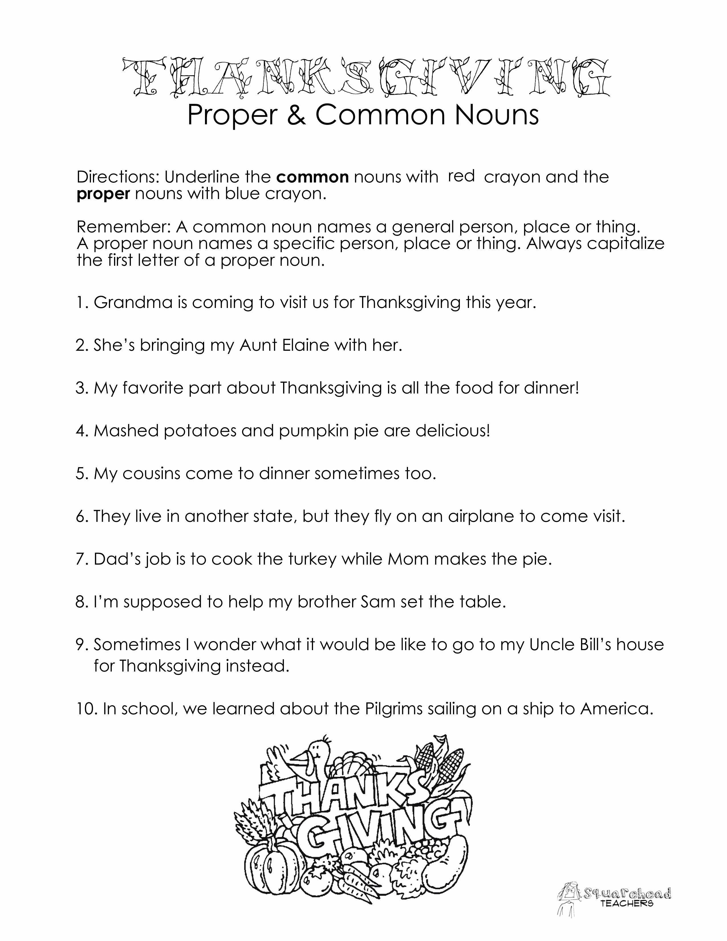 Proper Nouns Worksheet 2nd Grade Luxury Thanksgiving Mon Vs Proper Nouns Worksheet