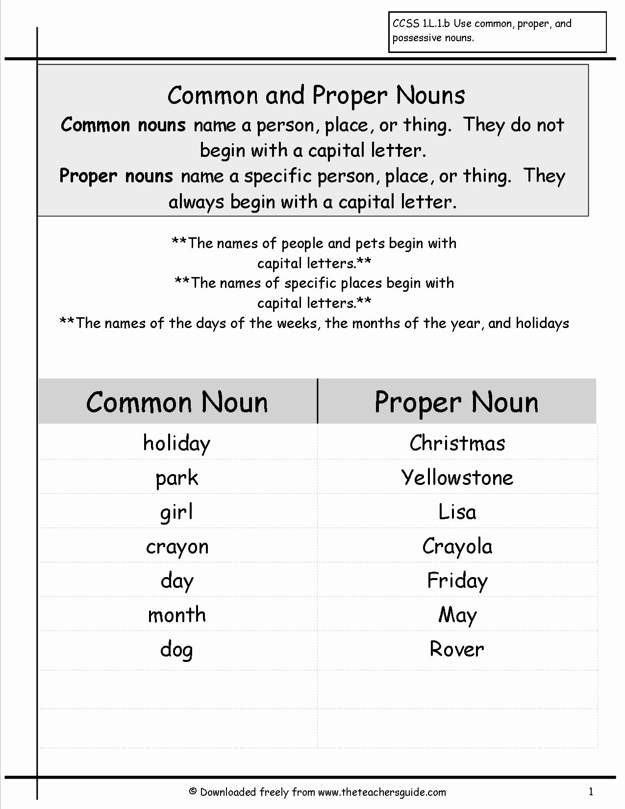 Proper Nouns Worksheet 2nd Grade Luxury Wonders First Grade Unit Two Week Four Printouts