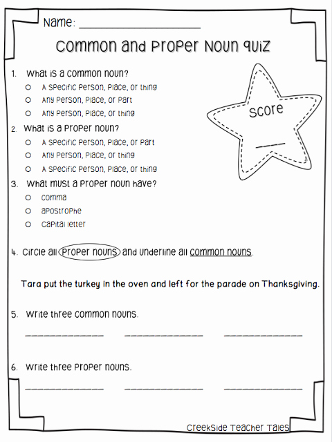 Proper Nouns Worksheet 2nd Grade New Mon & Proper Noun Freebie Creekside Teacher Tales