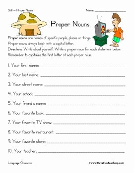 Proper Nouns Worksheet 2nd Grade New Proper Noun Worksheet by Have Fun Teaching