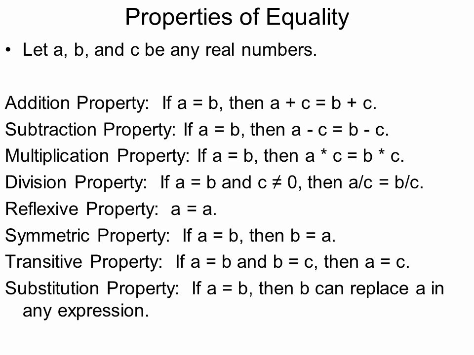 Properties Of Equality Worksheet Awesome Algebraic Properties Equality Examples the Best