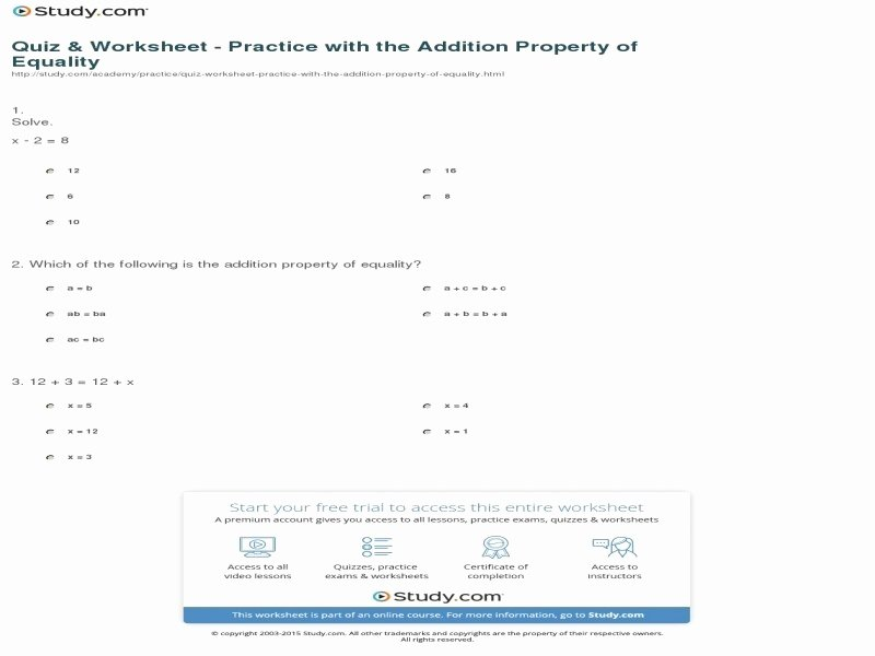Properties Of Equality Worksheet Awesome Properties Operations Worksheet Free Printable Worksheets