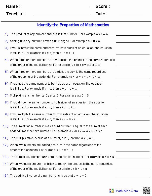 Properties Of Equality Worksheet Elegant Properties Worksheets