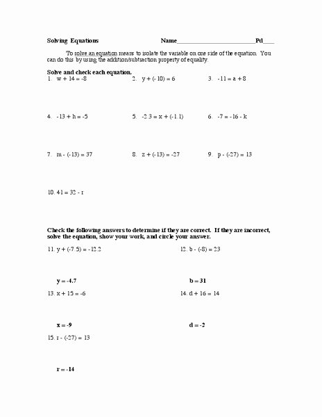 Properties Of Equality Worksheet Inspirational Addition Property Of Equality Lesson Plans & Worksheets