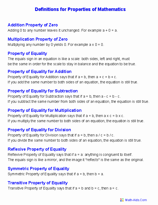 Properties Of Equality Worksheet Inspirational Properties Worksheets