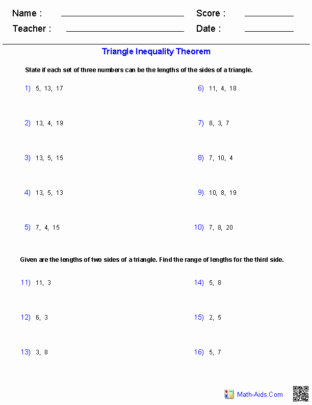 Properties Of Equality Worksheet New the Triangle Inequality theorem Worksheets