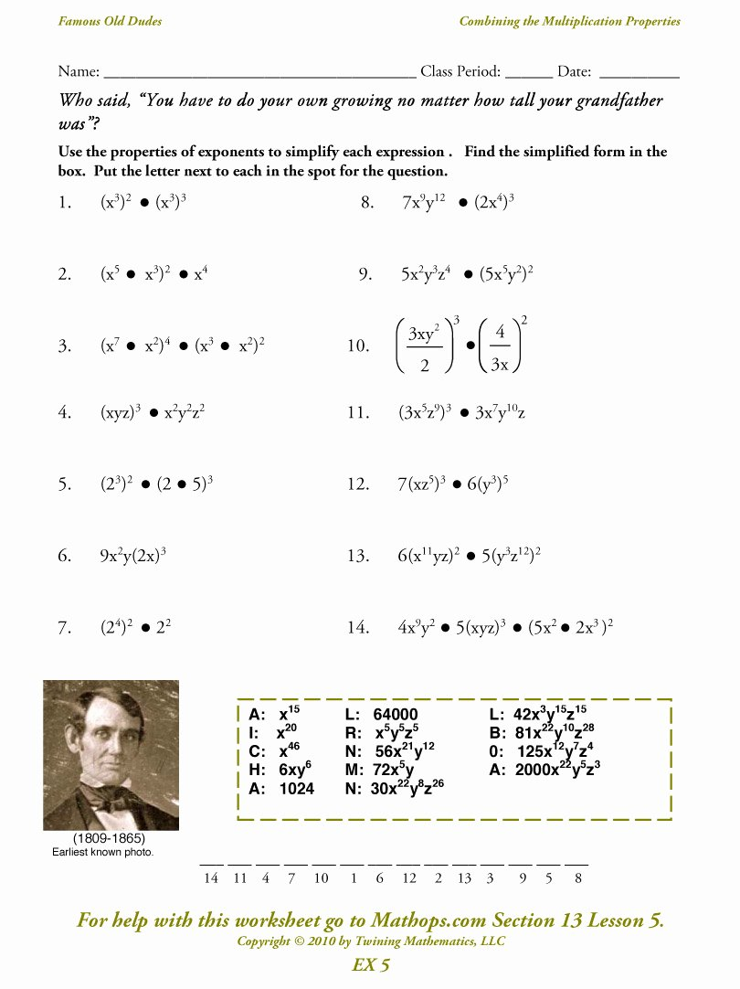 Properties Of Exponents Worksheet Awesome Ex 5 Bining the Multiplication Properties Mathops