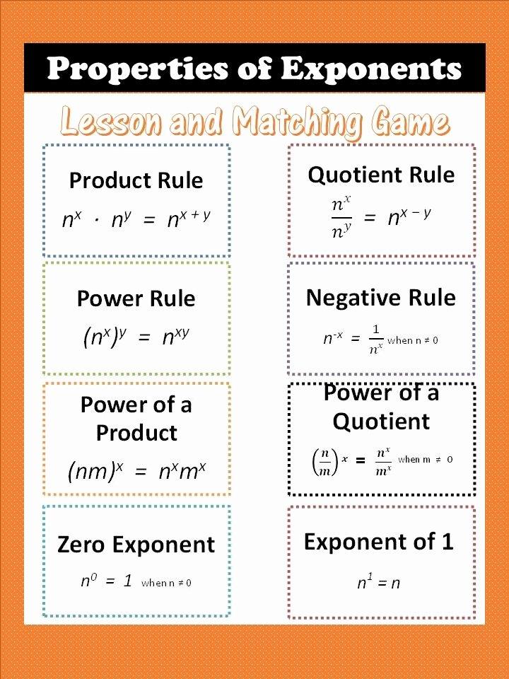 Properties Of Exponents Worksheet Best Of Properties Of Exponents with Matching Concentration Game