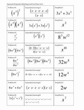 Properties Of Exponents Worksheet Fresh 33 Exponent Properties Card sort Match No Negative