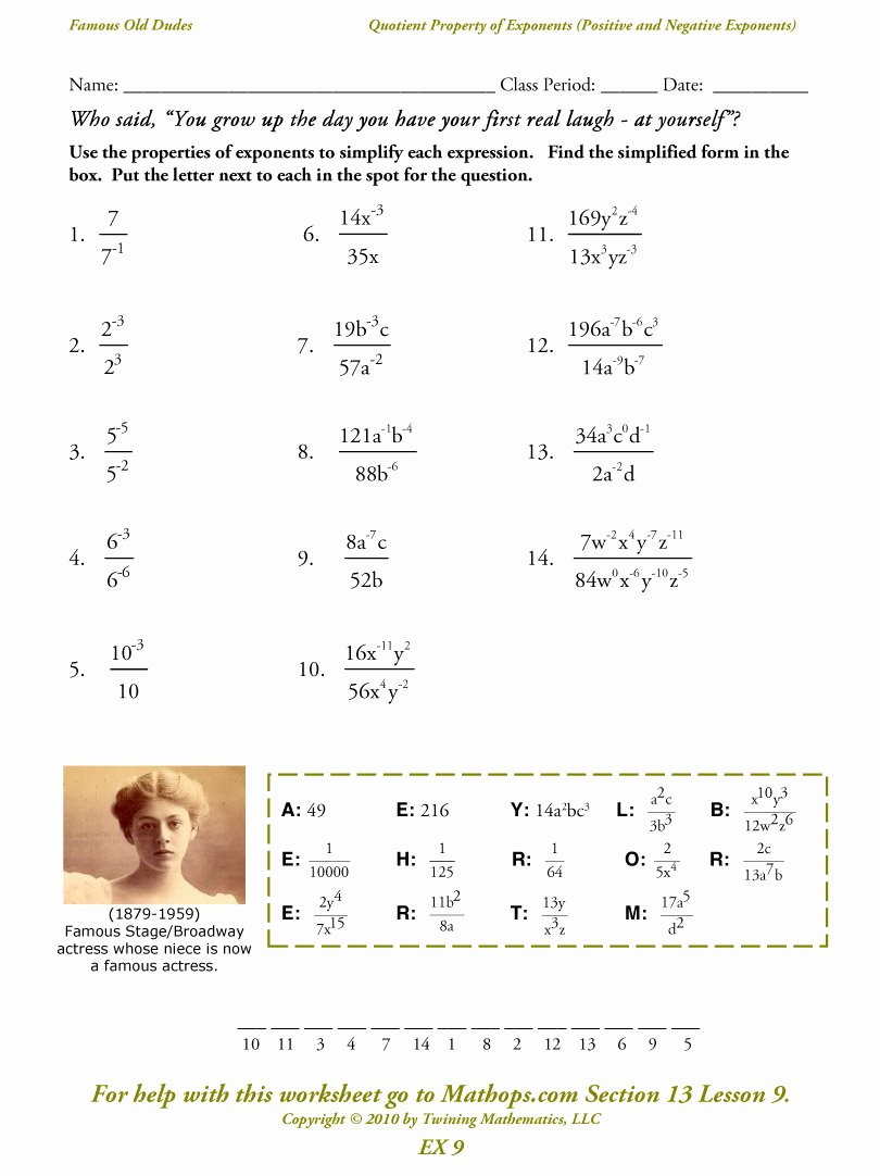 Properties Of Exponents Worksheet Inspirational Ex 9 Quotient Property Of Exponents Positive and