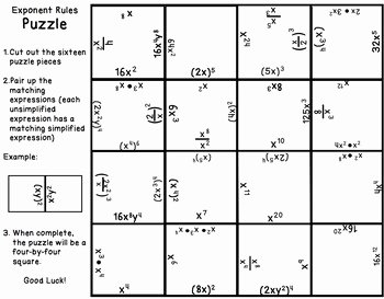 Properties Of Exponents Worksheet Luxury Exponents Puzzle 8 Ee 1 by Math On the Move