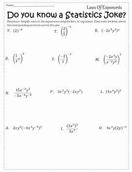 Properties Of Exponents Worksheet New Properties Of Exponents Activity Exponent Rules Worksheet