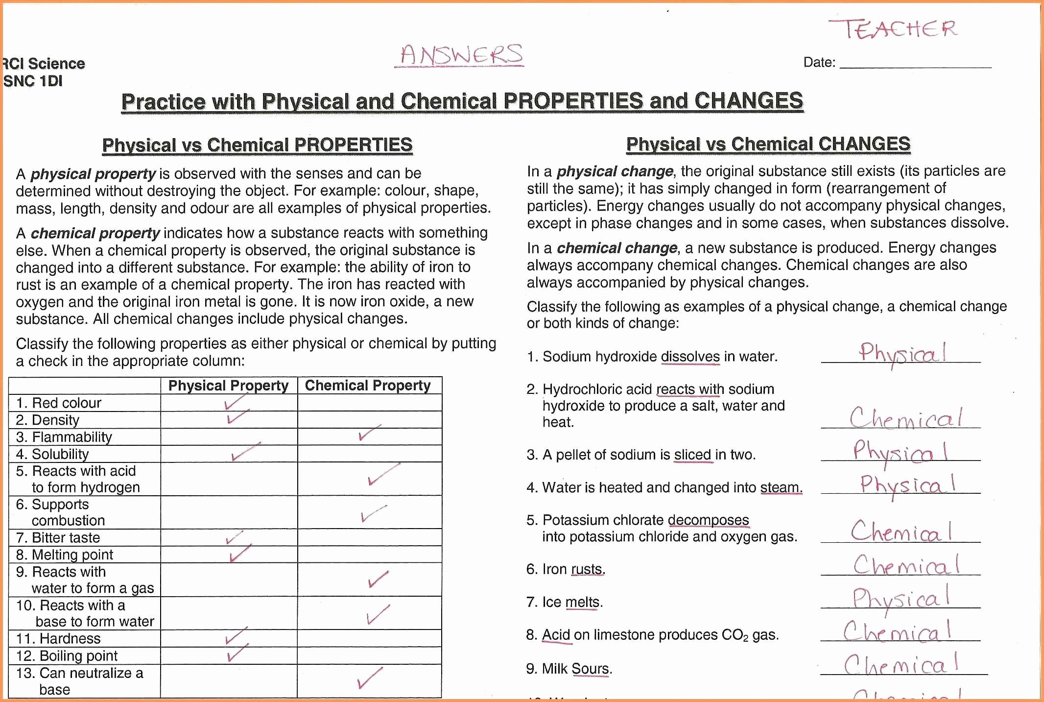Properties Of Matter Worksheet Answers Awesome Matter and Change Worksheet Answers