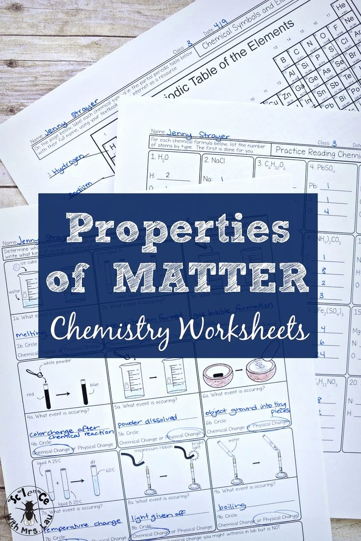 Properties Of Matter Worksheet Answers Fresh Best 20 Chemistry Worksheets Ideas On Pinterest